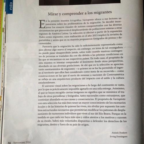 """Texto de presentación del dossier """"Errantes. Historias de la migración en América Latina""""."""